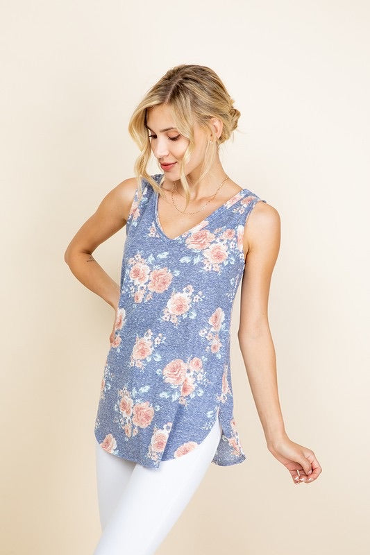Floral Tank Top with Curved Hemline - Monogram Market