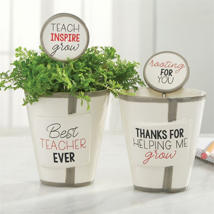 Mud Pie Pot Teacher Herb Pot And Soil Marker Set - Best Teacher Ever - Monogram Gifts