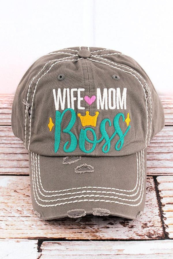 Wife Mom Boss Distressed Baseball Hat - Monogram Gifts