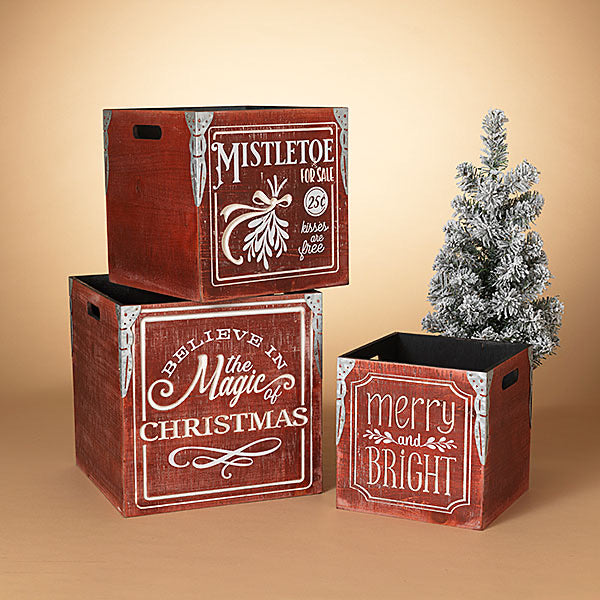 Wooden Engraved Square Holiday Box/Crate - Monogram Gifts