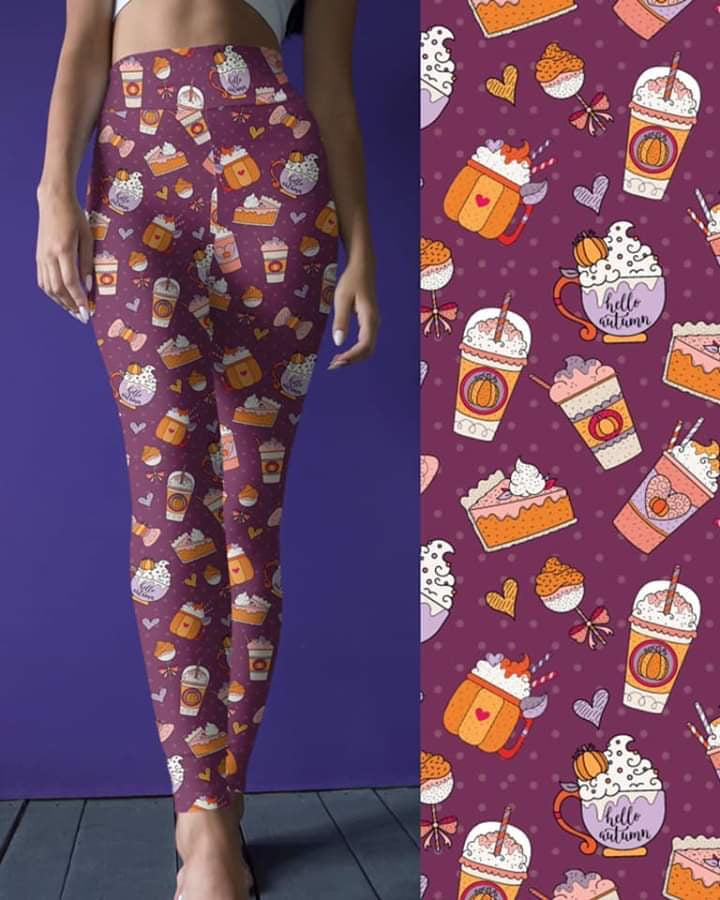 Fall Leggings, Pumpkin Pie and Lattes on Magenta