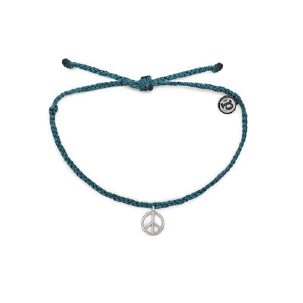 PuraVida, Peace Sign Bracelet, Mediterranean Green - Monogram Gifts