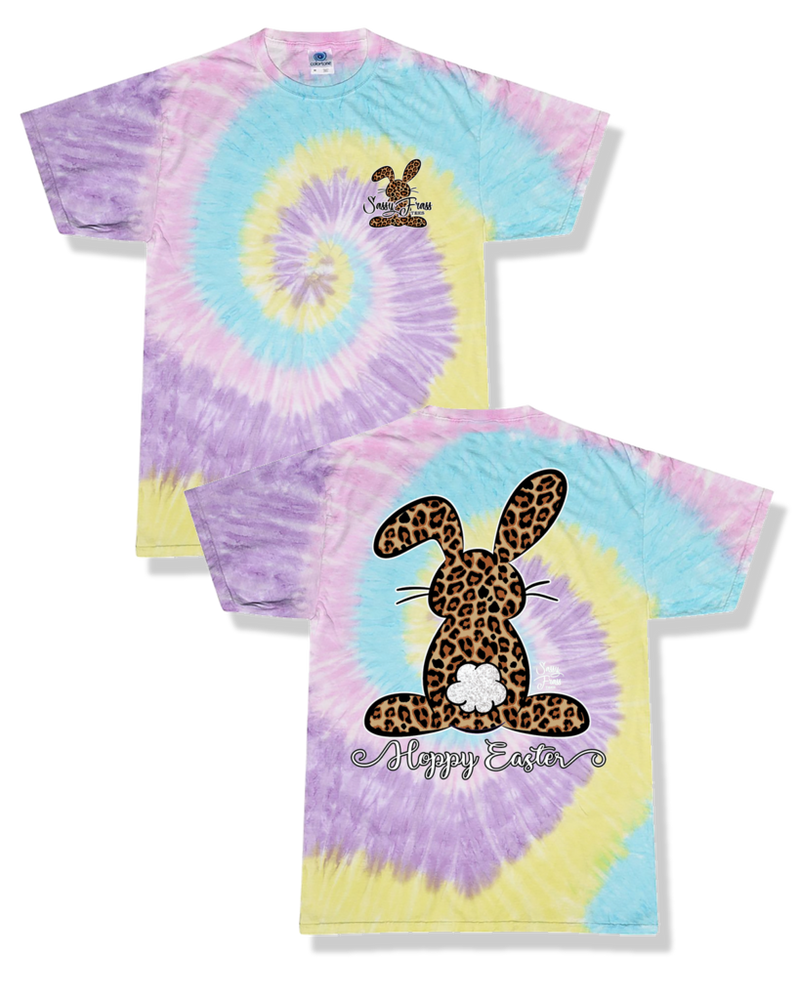 "Sassy Frass YOUTH Leopard Happy Easter Bunny, Tie Dye ""Jellybean"" - Monogram Gifts"