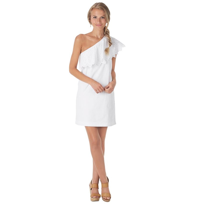 Mud Pie, Laurel One-Shoulder Dress, White - Monogram Market