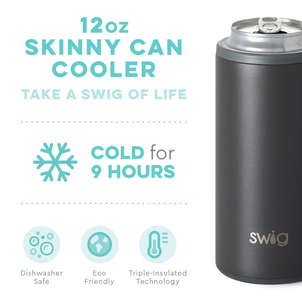 SWIG 12oz Skinny Can Cooler, Matte Grey - Monogram Gifts