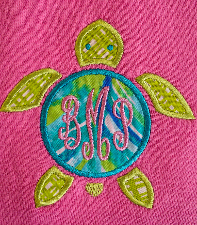 Monogram Market's YOUTH Monogram Tee, Sea Turtle Appliquéd with Lilly Fabric - Monogram Gifts