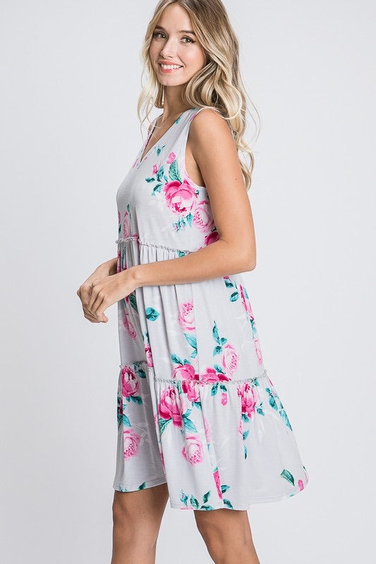 Tiered Floral Dress, Sleeveless - Monogram Market