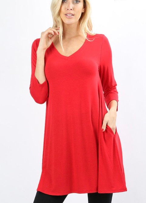 Ruby 3/4 Sleeve Straight Hem Flared Tunic - Monogram Market