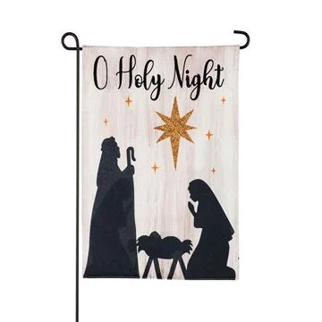 Nativity Silhouette Garden Linen Flag