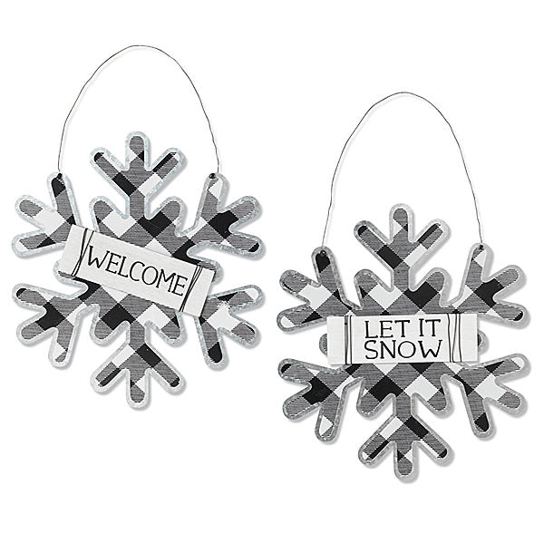 Plaid Snowflake Wall Hanging - Monogram Gifts