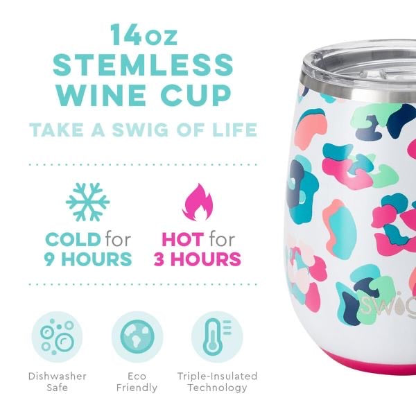 SWIG - 14 oz Stemless Wine Cup, Party Animal - Monogram Gifts