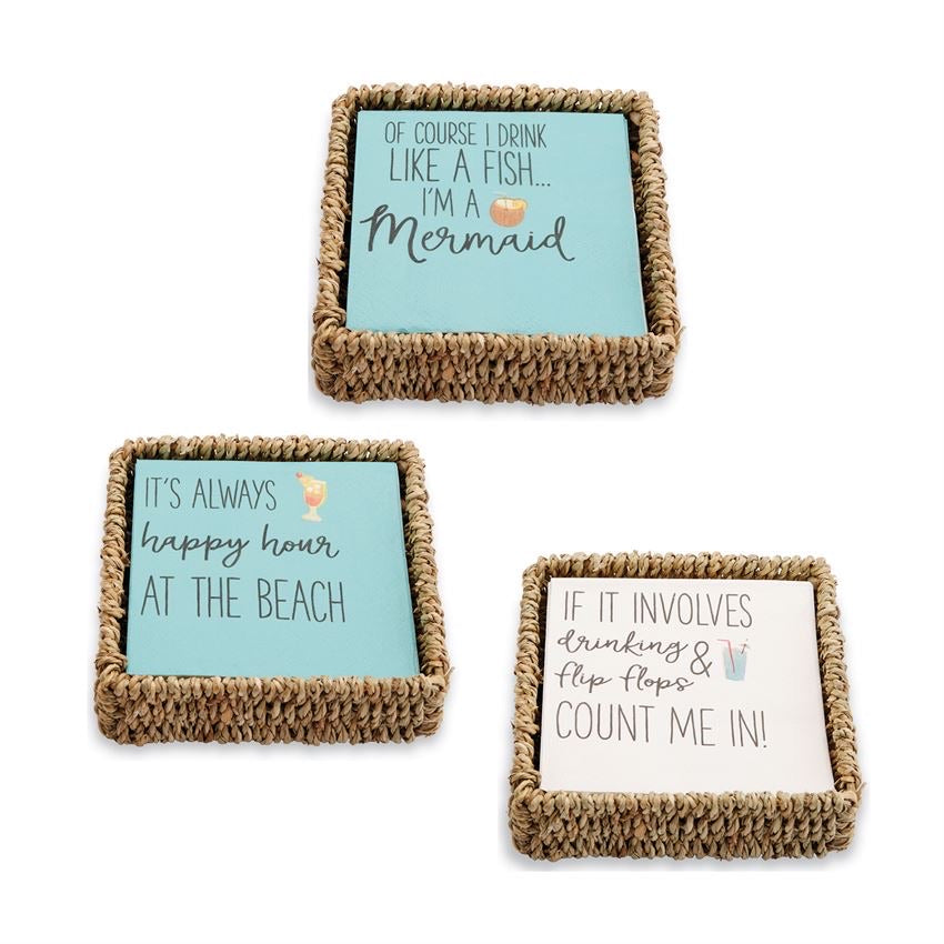 Mud Pie Beach Themed Cocktail Napkin Baskets - Monogram Gifts