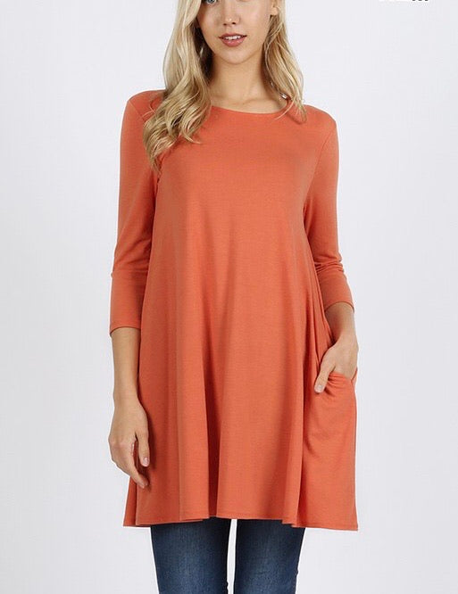 Ash Copper 3/4 Sleeve Swing Tunic - Monogram Gifts