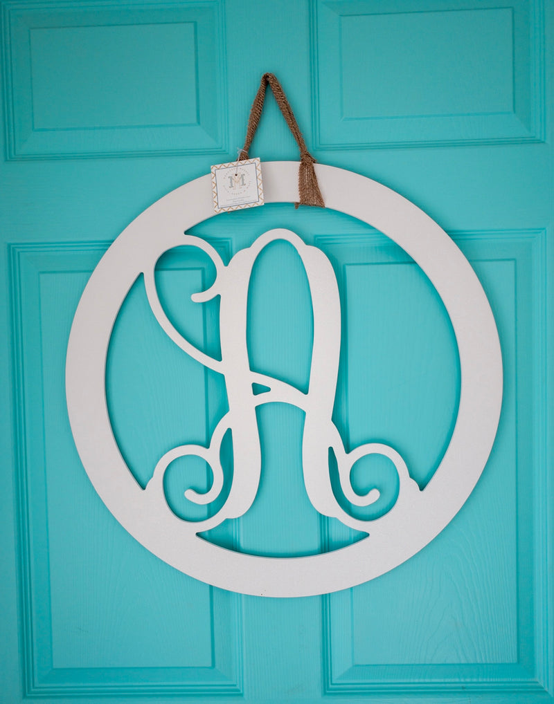 Round Initial, Wood Door Hanger - White *PICKUP ONLY* - Monogram Market