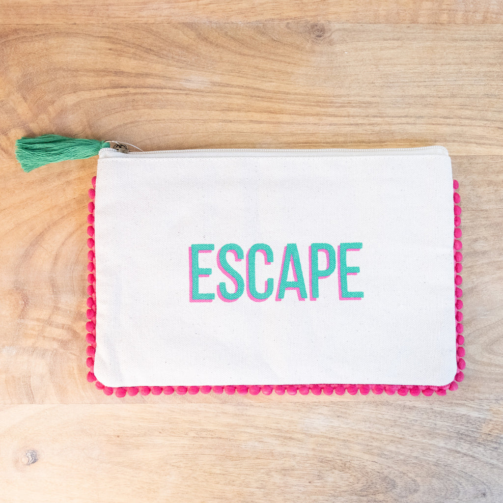 Escape Cosmetic Bag with Hot Pink Pom Pom Trim - Monogram Market