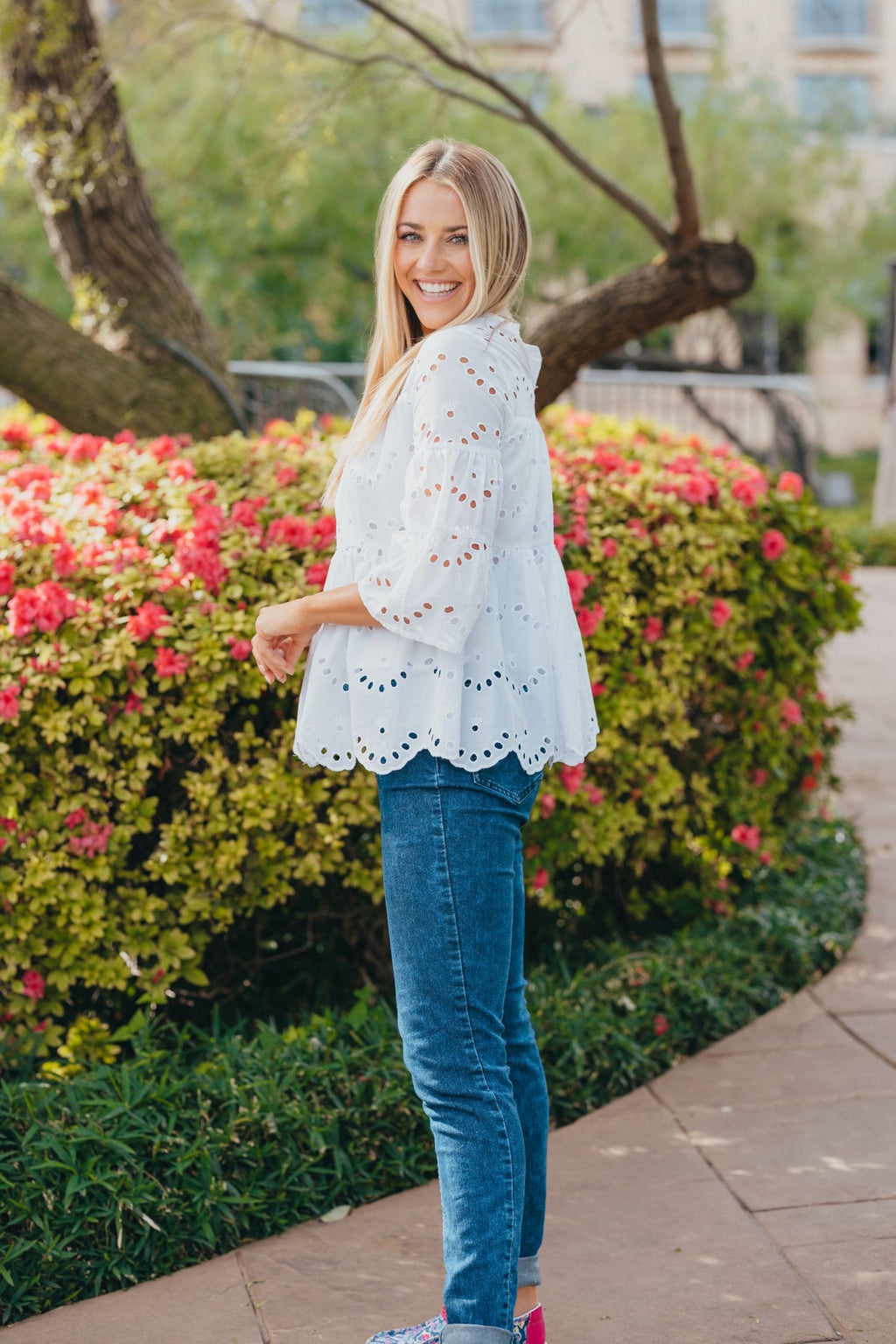 Simply Southern - White Eyelet Lace Top - Monogram Market