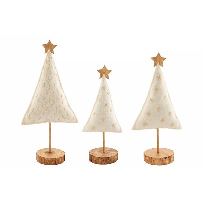 Mud Pie White Gold Felted Trees - Monogram Gifts