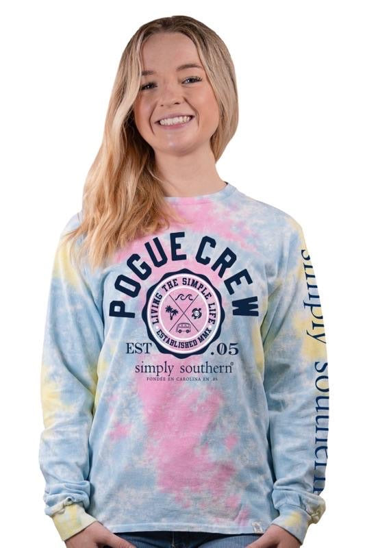 Simply Southern - Pogue Crew Long Sleeve Tie Dye Tee - Monogram Market