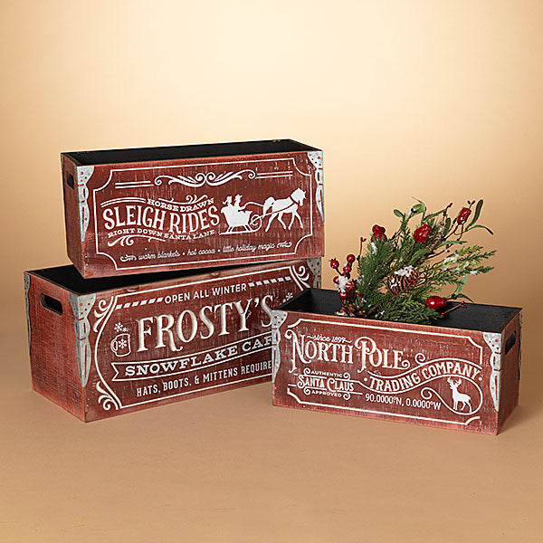 Wooden Engraved Red Holiday Box/Crate - Monogram Gifts