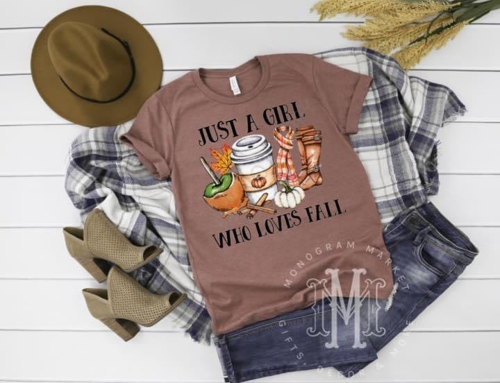 Just A Girl Who Loves Fall, Printed Tee