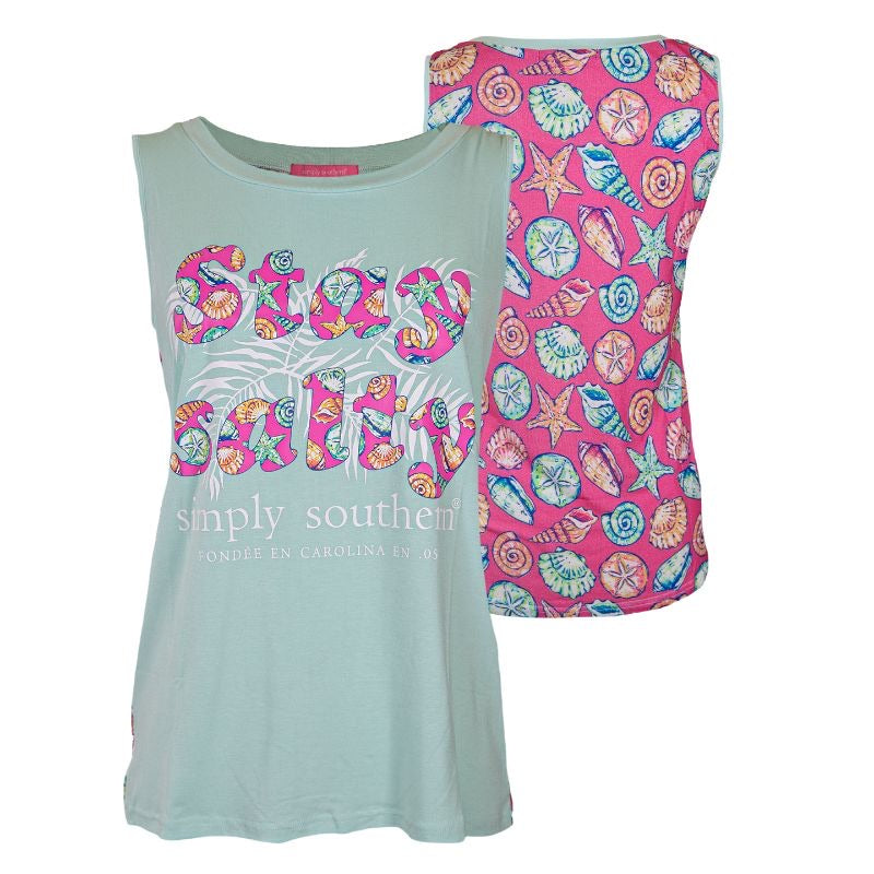 Simply Southern - Tank Top Stay Salty, Shells - Monogram Market
