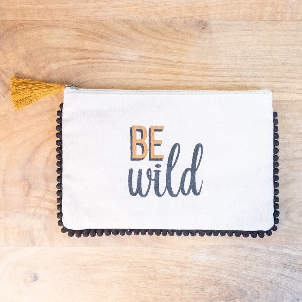 Be Wild Cosmetic Bag with Black Pom Pom Trim - Monogram Market