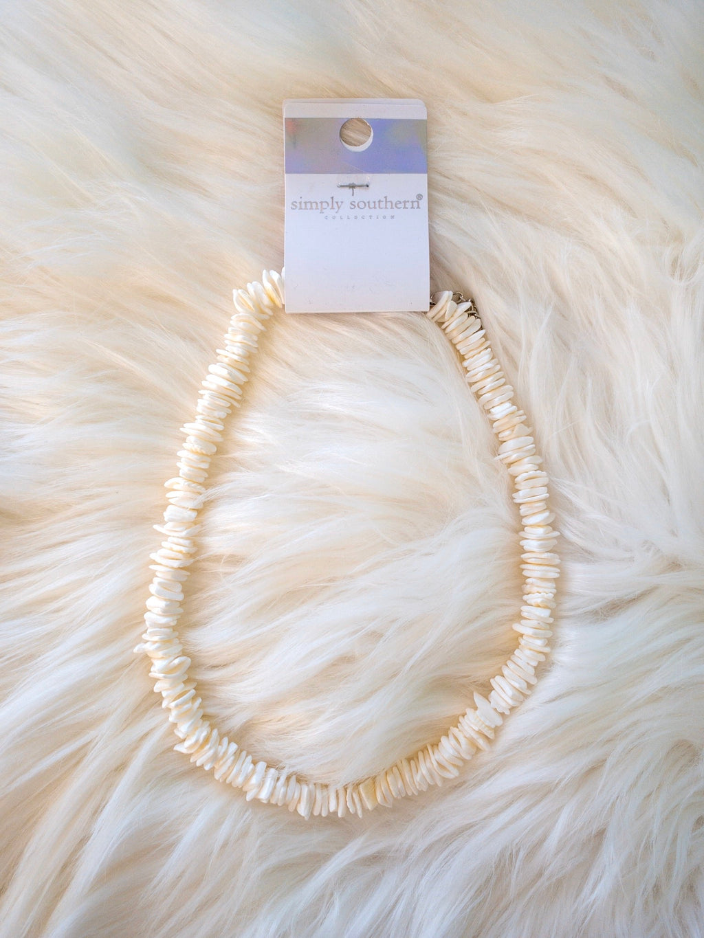 Simply Southern White Puka Shell Necklace - Monogram Gifts