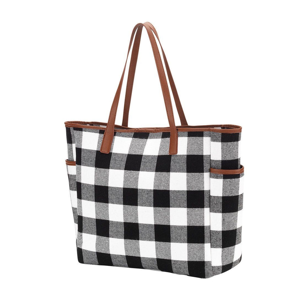 Black and White Buffalo Plaid Hayden Tote - Monogram Gifts