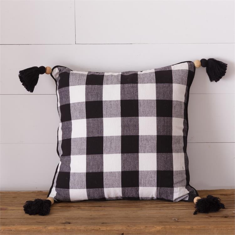 Buffalo Plaid Pillow w/ Tassels, Black - Monogram Market