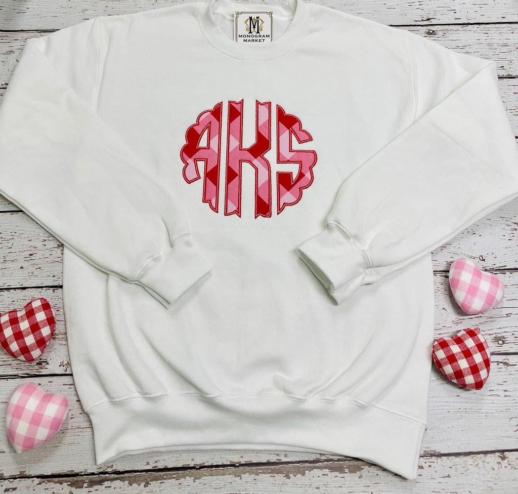 Monogram Market's Valentine Sweatshirt, Fabric Appliqué - Monogram Gifts