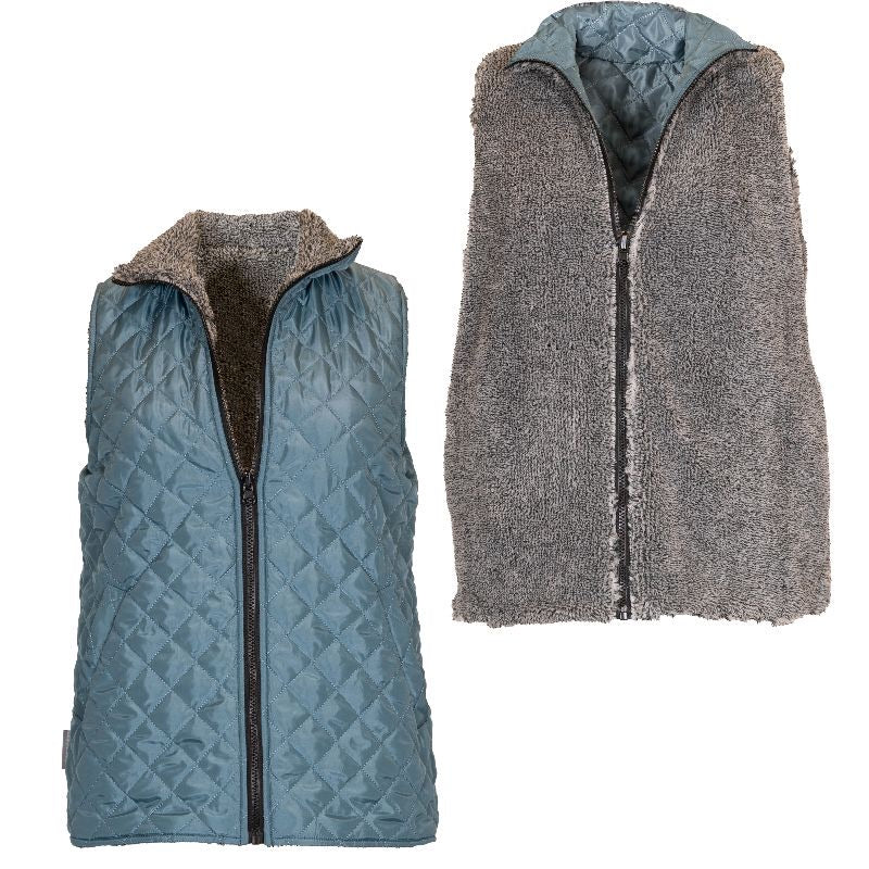 Simply Southern - Reversible Vest, Teal/Gray - Monogram Gifts