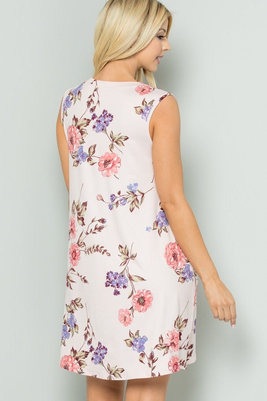 Sleeveless Floral Print Dress - Monogram Market