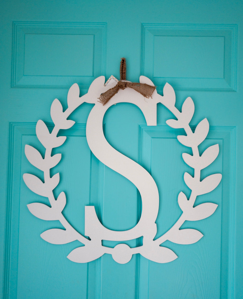 Roman Wreath Initial, Wood Door Hanger - White *PICKUP ONLY* - Monogram Gifts