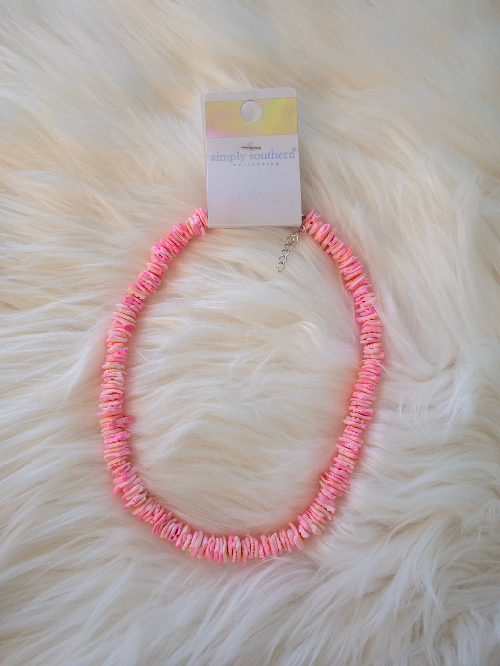 Simply Southern Pink Puka Shell Necklace - Monogram Gifts