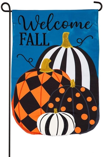 Fall Pattern Pumpkins Garden Applique Flag