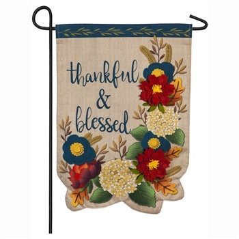 Thankful and Blessed Floral Garden Linen Flag