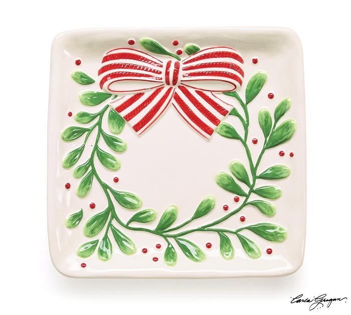 Mistletoe Wreath Plate with Bow - Monogram Gifts