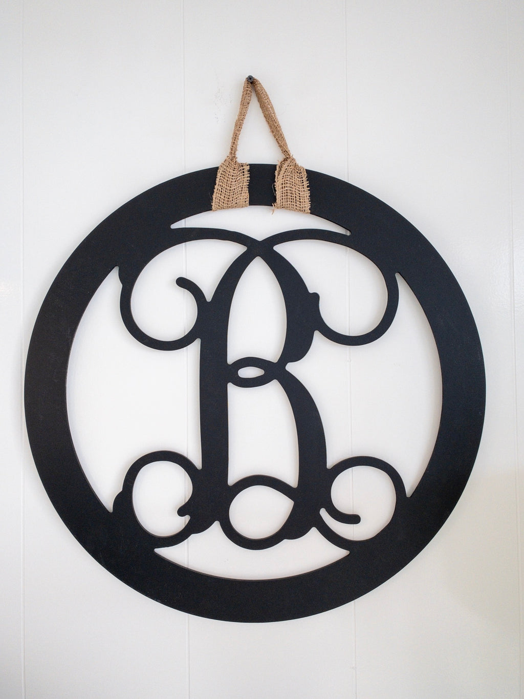Round Initial, Wood Door Hanger - Black  *PICKUP ONLY* - Monogram Gifts