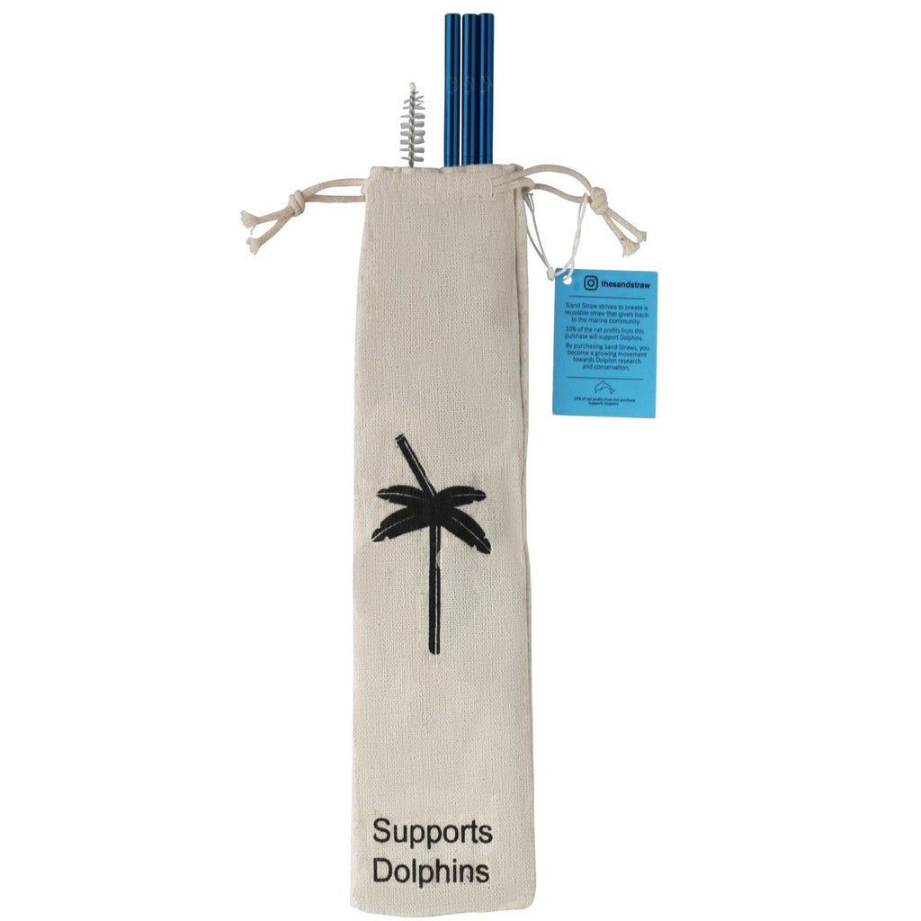 Reusable Sand Straw - Blue/Dolphin - Monogram Gifts