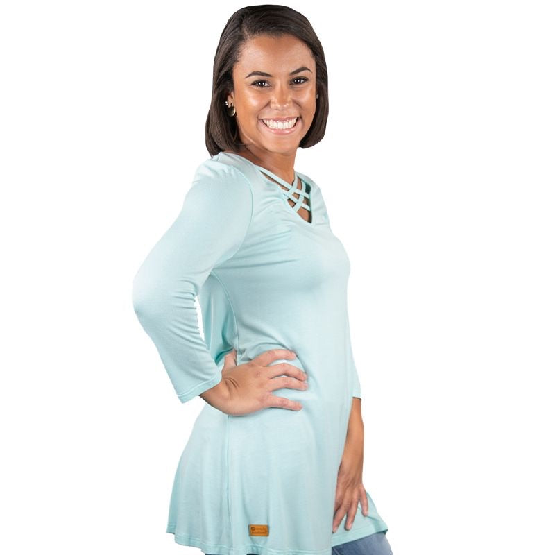 Simply Southern Criss-Cross Tunic, Aqua - Monogram Gifts