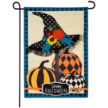 Witch Hat and Pumpkins Garden Appliqué Flag