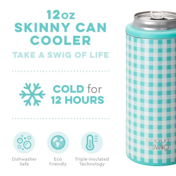SCOUT + Swig Barnaby Checkham Skinny Can Cooler, 12 oz. - Monogram Gifts