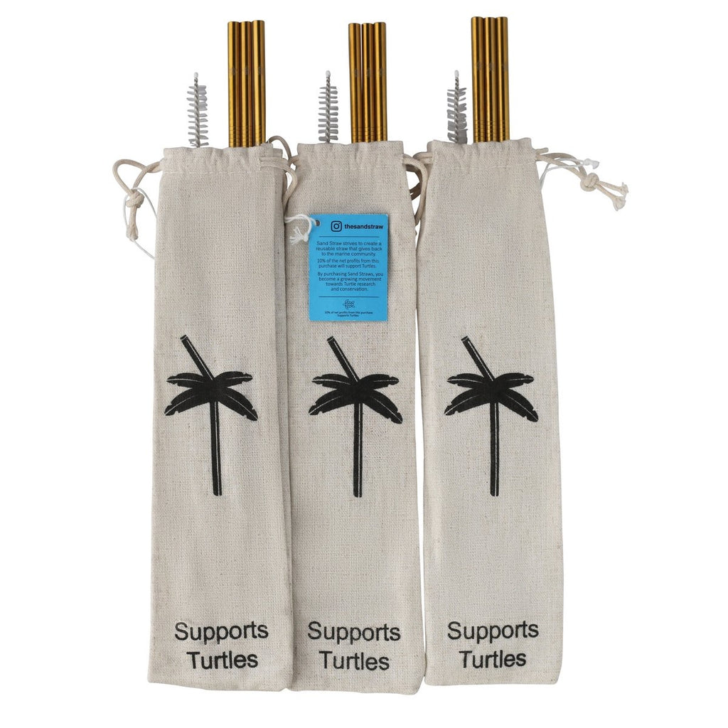 Reusable Sand Straw - Gold/Turtles - Monogram Gifts