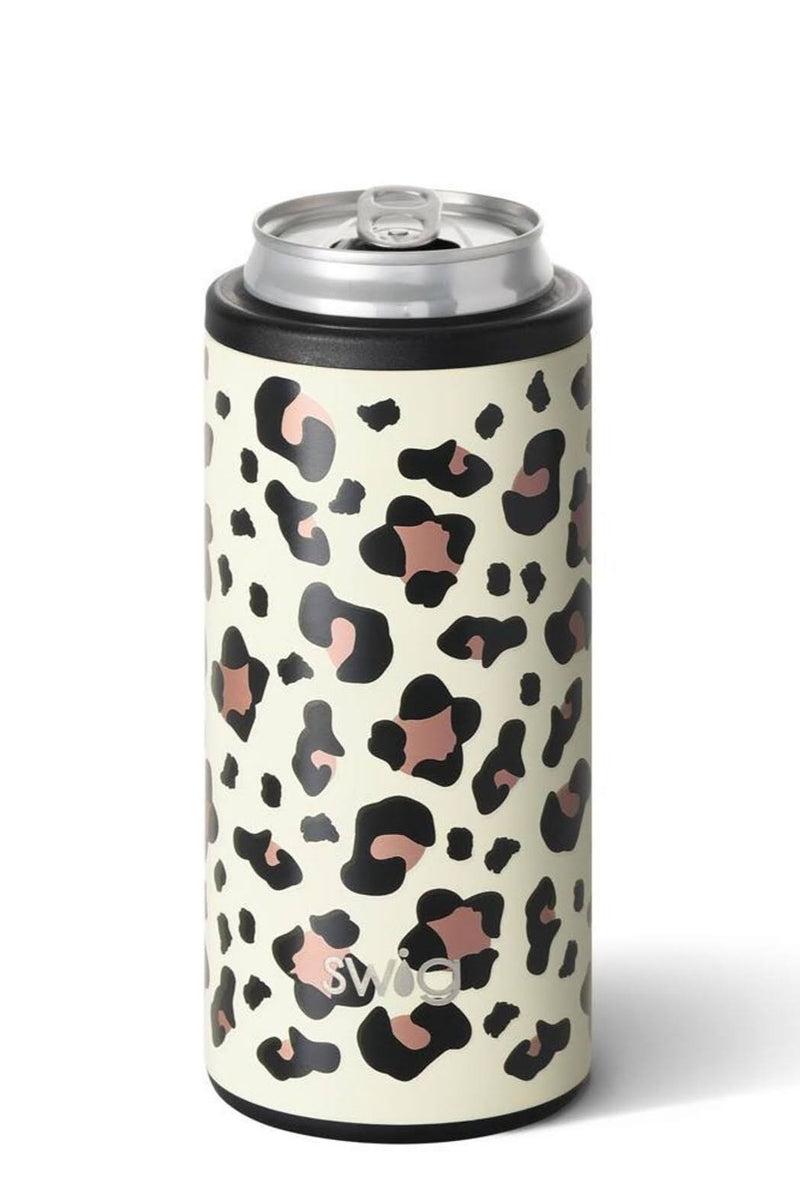SWIG 12oz Skinny Can Cooler, Leopard - Monogram Gifts