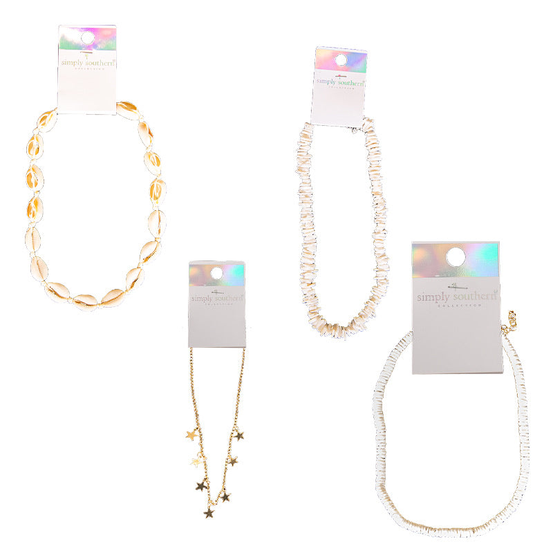 Simply Southern Smooth White Puka Shell Necklace - Monogram Gifts