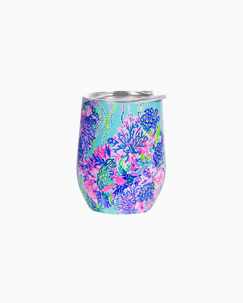 Lilly Pulitzer Stainless Steel Wine Tumbler with Plastic Lid, Beach It To You - Monogram Market