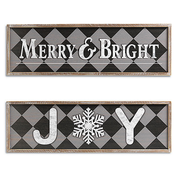 "Holiday ""Joy"" and ""Merry & Bright"" Wall Hanging - Monogram Gifts"
