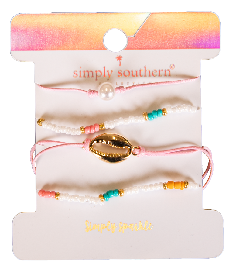Simply Southern Multi-Colored Pearl Bracelet Set - Monogram Gifts