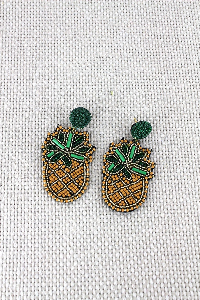 Pineapple Seed Bead Earrings - Monogram Market