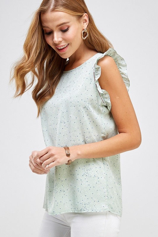 Flutter Sleeve Printed Top in Mint - Monogram Market